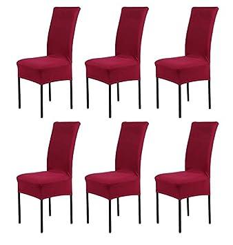 HMwish koobea Fundas para sillas Pack de 6 Elástico Fundas sillas Comedor Extraíble Fundas Elásticas, Cubiertas para sillas(Rojo)