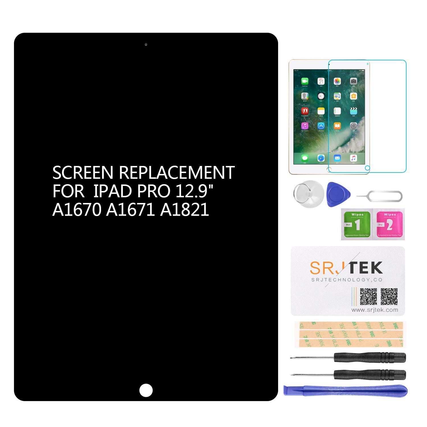for iPad Pro 12.9 A1670 A1671 A1821 Screen Replacement LCD Display Touch Screen Digitizer + IC Connector PCB Flex Cable Assembly (2017) (Black)