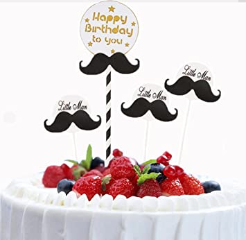 CHENPU Birthday Cake Toppers Happy Beard Shape Decorations For Kids Baby Adults