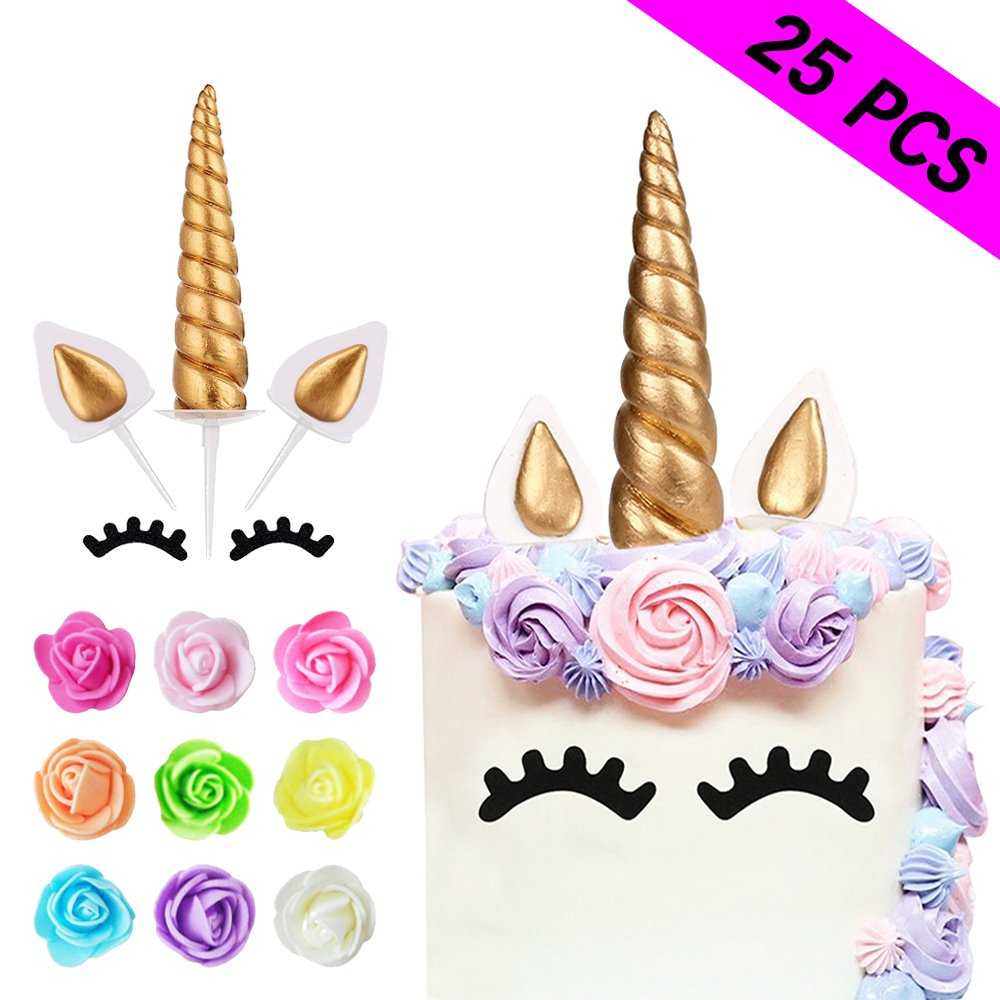 Unicorn Cake Topper, Reusable Unicorn Horn, Ears, Eyelashes and Flowers Party Cake Decoration for Birthday Party, Baby Shower, Wedding