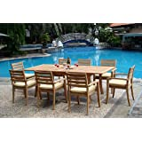 """New 9 Pc Luxurious Grade-A Teak Dining Set - 94"""" Rectangle Table And 8 Travota Stacking Arm Chairs #WHDSTV8"""
