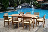 New 9 Pc Luxurious Grade-A Teak Dining Set – 94″ Rectangle Table And 8 Travota Stacking Arm Chairs #WHDSTV8 Review
