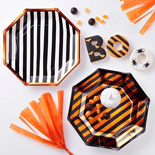 Halloween Decorations Paper Plates Halloween Party Ideas Fall Décor Orange Foil Stripe 9 Inch Pk 16