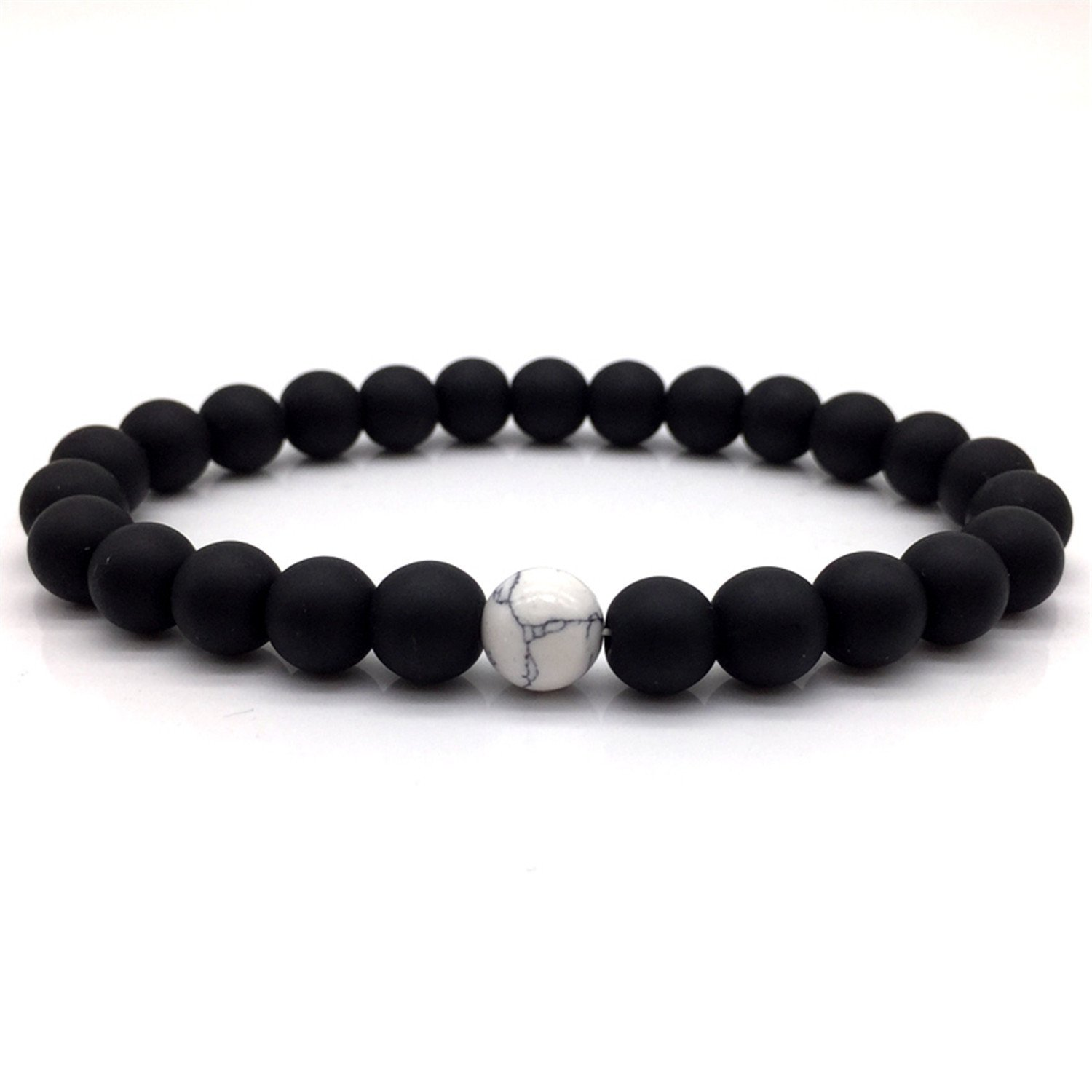 Dapengzhu 2018 H0T Fashion Classic Marble Beaded Bracelets for Men Women Natural black & white Stone Bead Jewelry gift