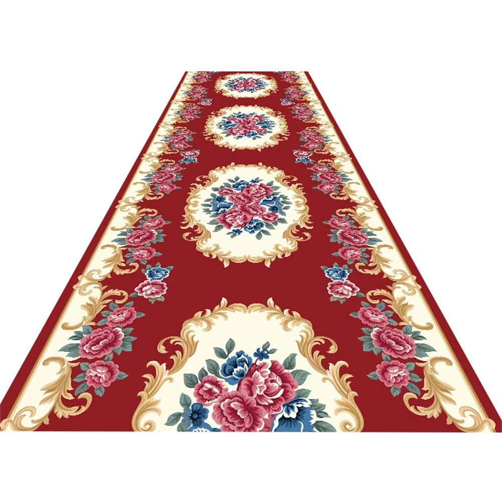 YANAN ヨーロッパ人 コリドーカーペット 廊下 通路 ランナー敷物 リビングルーム ドアマット 柔らかい 快適 2色 カスタマイズ可能 (色 : 赤, サイズ さいず : 1.2×4m) B07RL6CTG3 赤 1.2×4m
