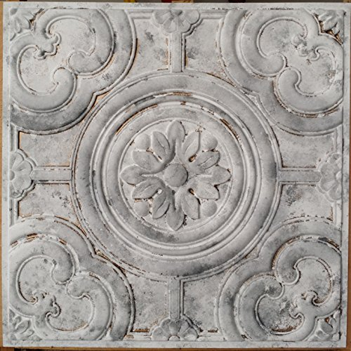 Distressed Tin Ceiling tile faux finishes white gray colour PL50 pack of 10pcs