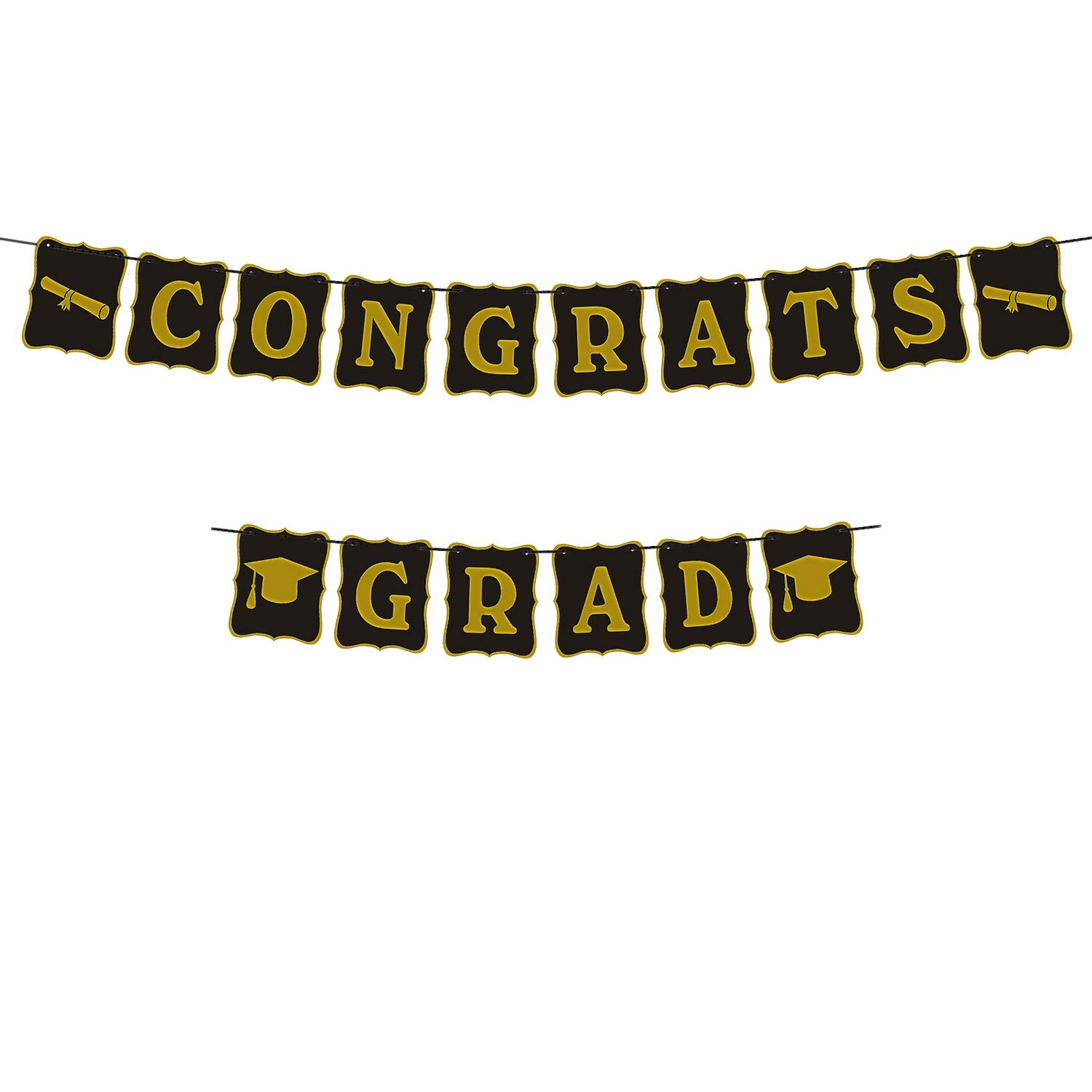 Graduation Party Supplies 2019 Graduation Party Decorations Graduation Banner Congratulations Banner Hang Swirls and Black & Red 2019 Balloons by Brillex (Image #2)