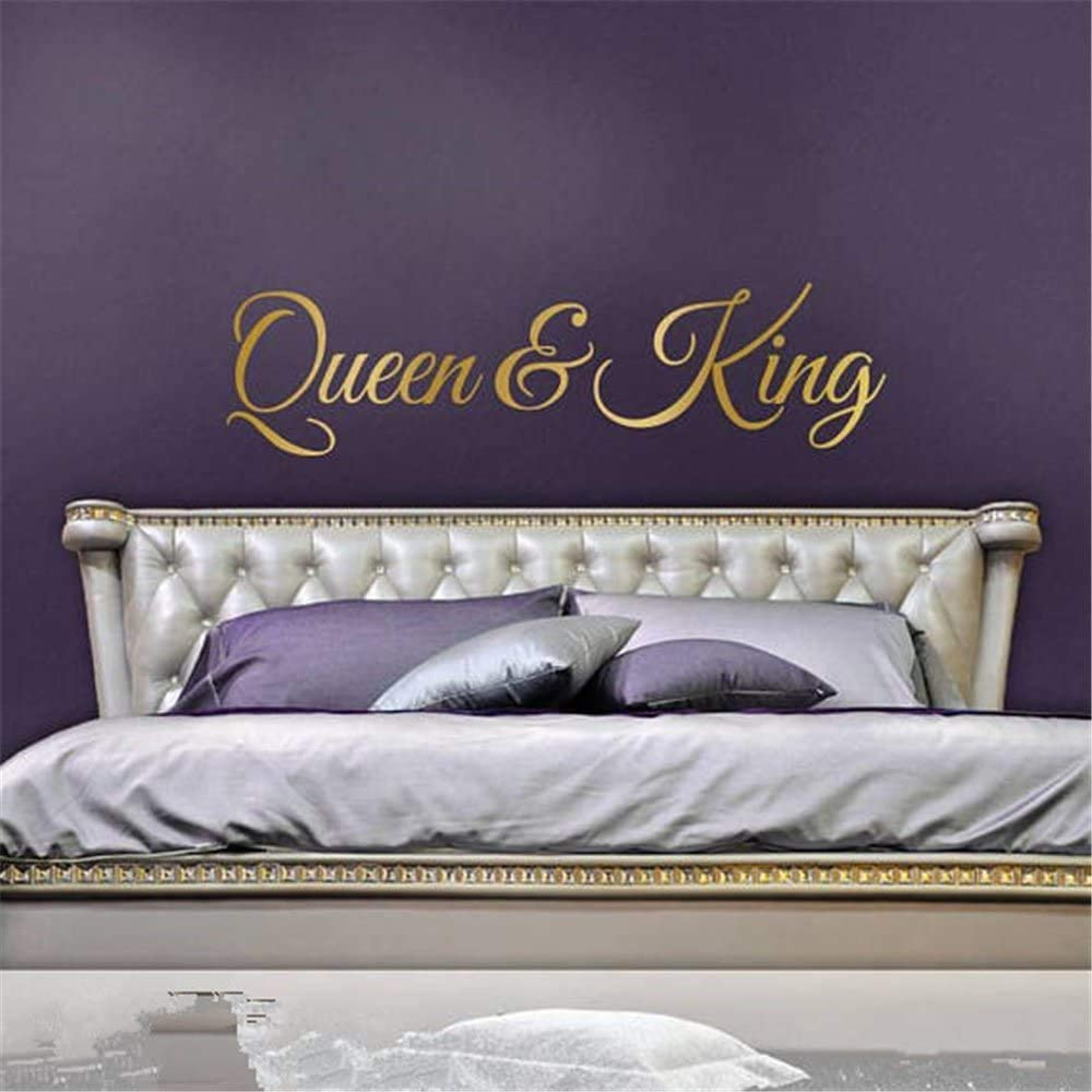 Queen King Wall Decal Stickers His and Hers Bedroom Wedding Gift for Couple Headboard Decal King Queen Wall Decor