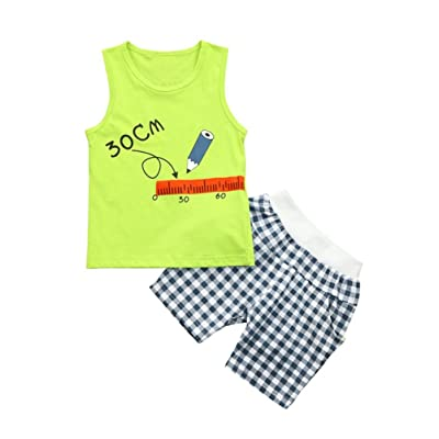 65bce9d4cce7f Lavany Baby Clothes Set,2PC Toddler Boy Sleeveless Simple Summer Tops+Plaid Shorts  Set