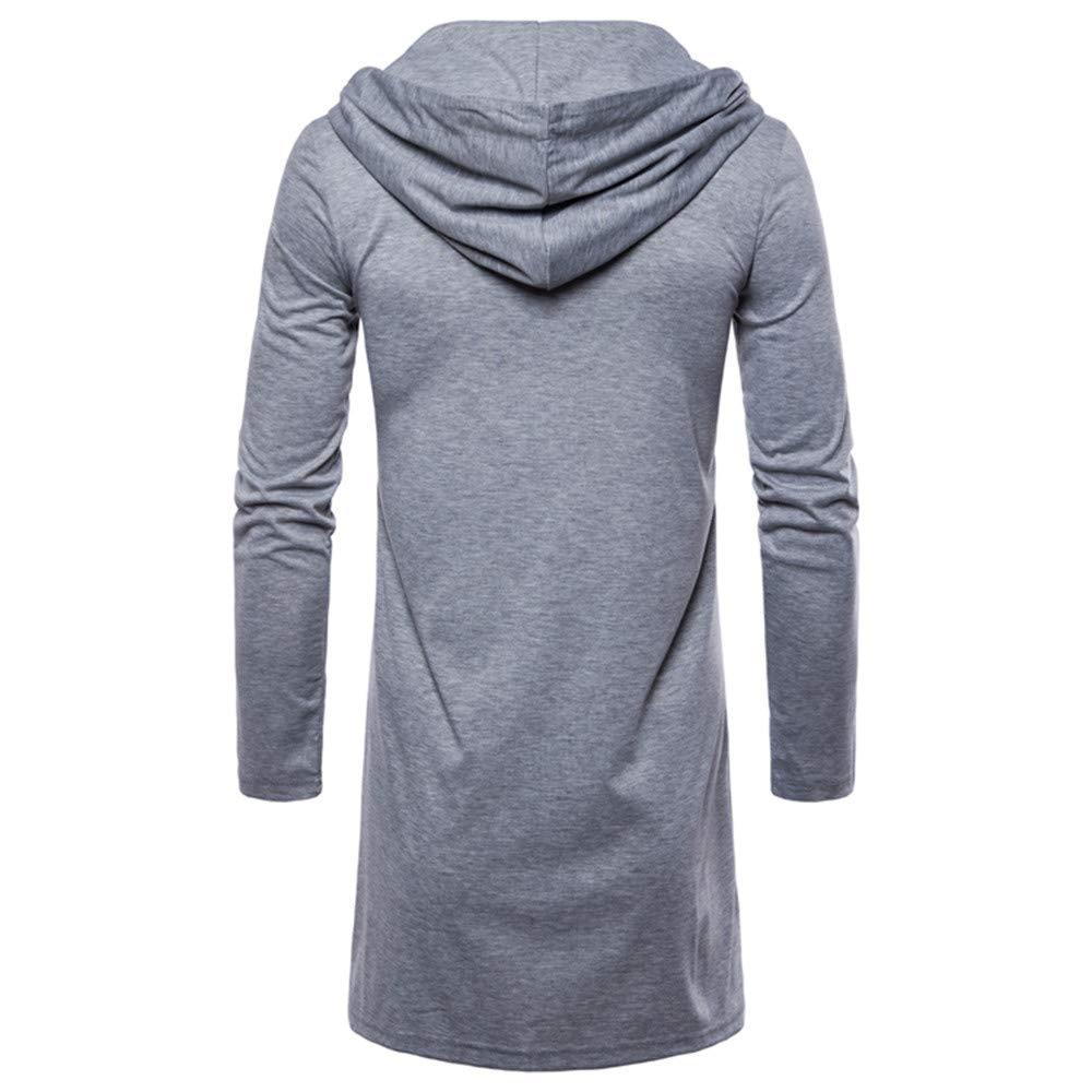 Naturazy Chaqueta De Punto Hombres,Largo Vestir Escudo Capa Hombre Remera Manga Largo Moda con Capucha SóLido Trench Coat Jacket Cardigan Outwear Blusa: ...