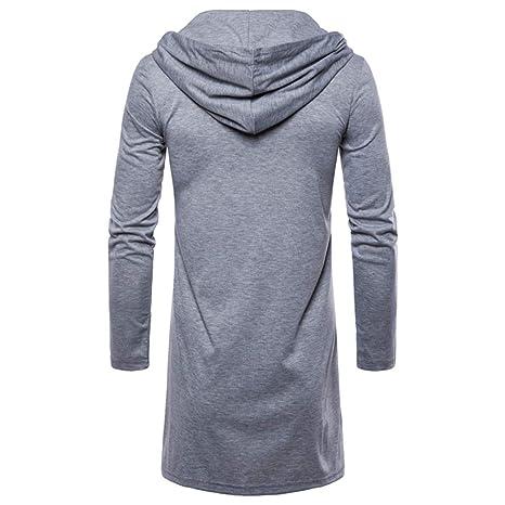 Rovinci Abrigos para Hombre Moda de Invierno con Capucha Trench sólido Chaqueta Larga Cardigan Manga Larga Outwear Blusas: Amazon.es: Ropa y accesorios