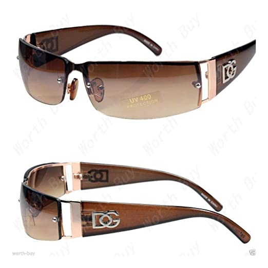 1b904093753e Image Unavailable. Image not available for. Color: DG Mens Womens Rectangular  Designer Sunglasses Shades Wrap Gold Brown Retro