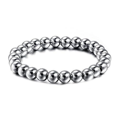 BOBIJOO Jewelry - Pulsera de Perlas de 8 mm de Acero ...