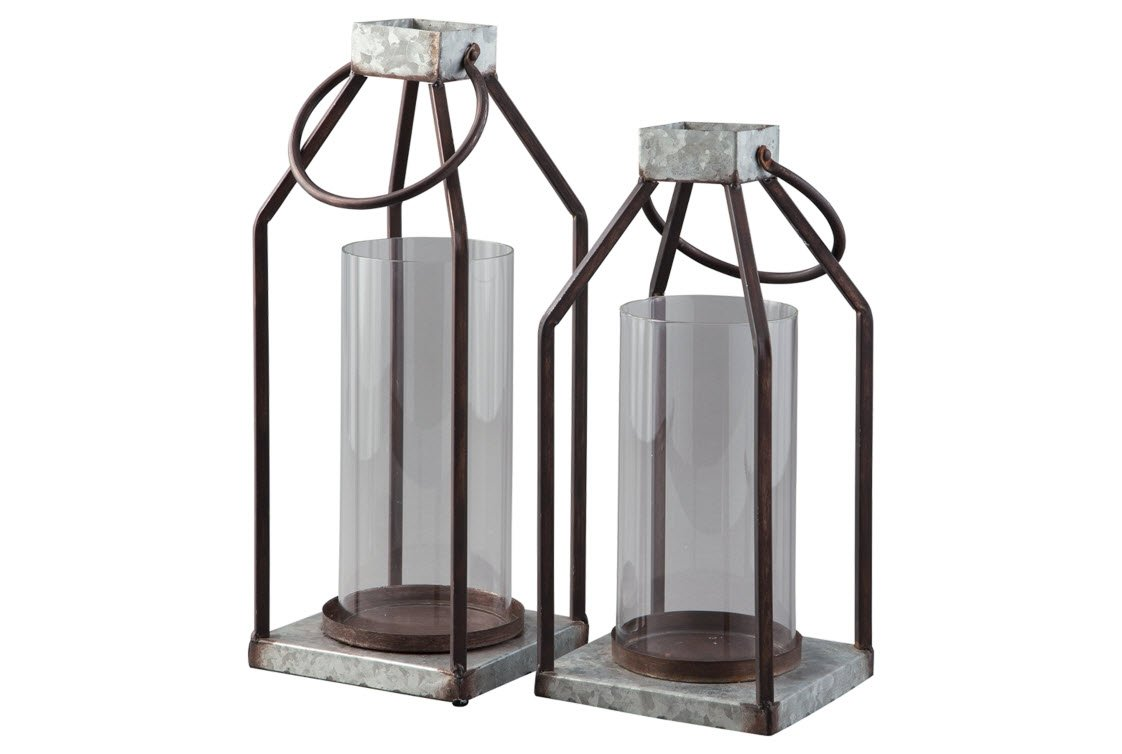 Signature Design by Ashley Diedrick Set of 2 Lanterns - Casual Large Gray/Black