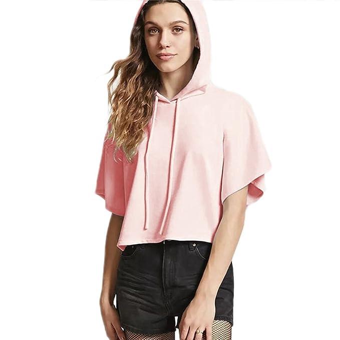 Blusas De Las Mujeres Hoodies Sudadera Jersey Manga Corta Camiseta Top para Chicas Verano Ligero Tapas