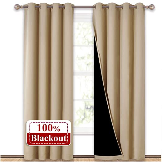 2 Panels-Biege Polyester Blackout Weave Window Curtains Drape Thermal Insulated