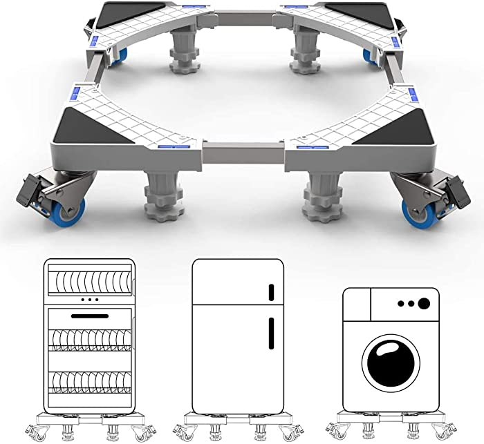 Adjustable Washing Machine Base with 4 Feet 4 Wheels, Multi-functional Movable Furniture Dolly Roller Mobile Base with 4 Locking Rubber Swivel Wheels for Washer Machine, Drier, Refrigerator