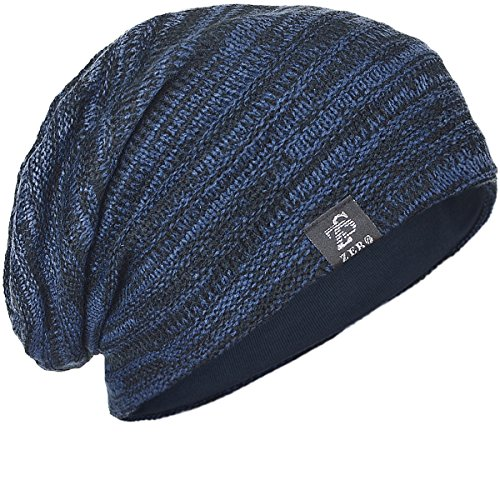 FORBUSITE Mens Slouchy Long Beanie Knit Cap for Summer Winter, Navy with Black