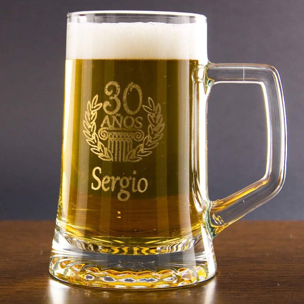 Calledelregalo Regalo Personalizable para cumpleaños: Jarra de Cerveza grabada con el Nombre y la Edad Que tú Quieras