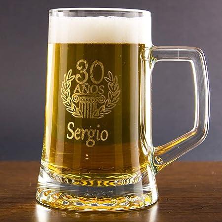 Calledelregalo Regalo Personalizable para cumpleaños: Jarra de Cerveza grabada con el Nombre y la Edad Que tú Quieras: Amazon.es: Hogar