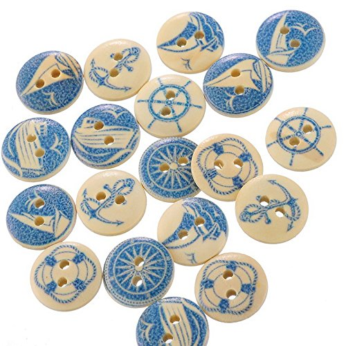- Assorted Buttons Bulk Buttons - 50PCs Wholesale Natural Wooden Round Buttons Blue Nautical Design Scrapbooking Sewing Accessories DIY Craft 2 Holes 15mm Dia. - Buttons For Crafts