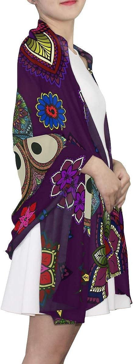 EELa Long Shawl for Women Lightweight Soft Owl Flowers Mandala Printed Wrap Scarf 70x35 inches