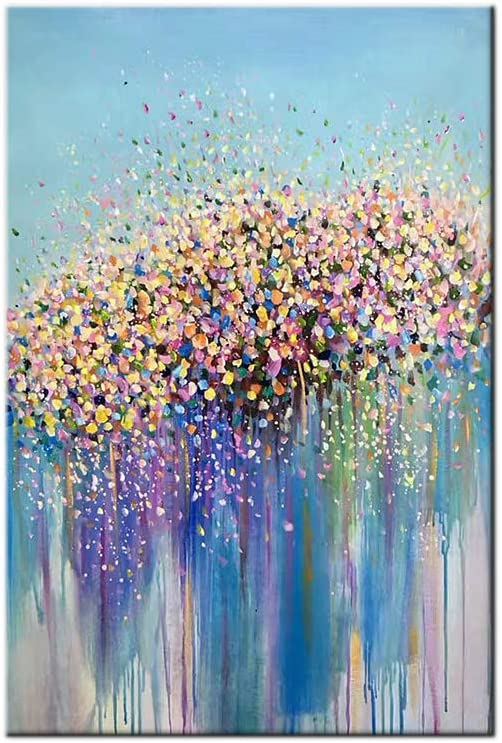 100% Pintura Al Óleo Pintado A Mano Cuadros Abstractos Modernos Flores Arte De Pared sobre Lienzo Estirada Y Enmarcado Decoración Listo para Colgar,16