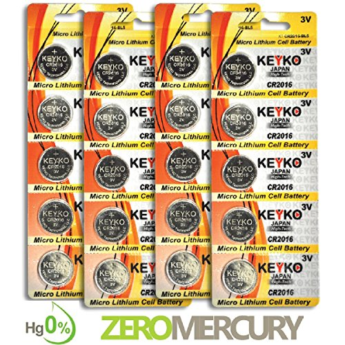 (CR2016 Battery - 20 pcs Pack - 3V Lithium Buttom Coin Cell Battery Type 3.0 Volt: 2016 DL2016 ECR2016 Genuine KEYKO Supreme High Energy)