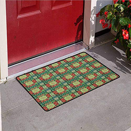 (GloriaJohnson Ethnic Inlet Outdoor Door mat Portuguese Azulejo Ceramic Tiles Talavera Style Traditional European Culture Motifs Catch dust Snow and mud W15.7 x L23.6 Inch Multicolor)