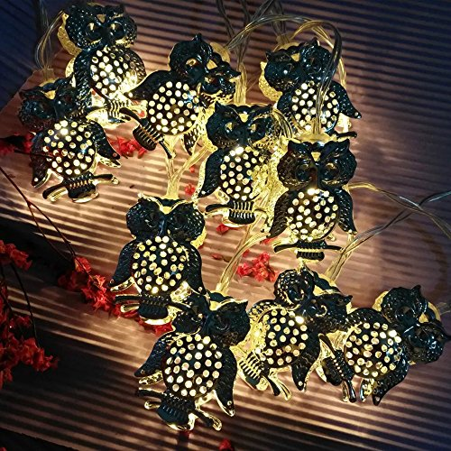 LJM 20 Led Battery Operated Powered Christmas Halloween Scary Owl String Lights For Home Bar Patio Indoor Outdoor Wedding Decoration Flash Lights]()