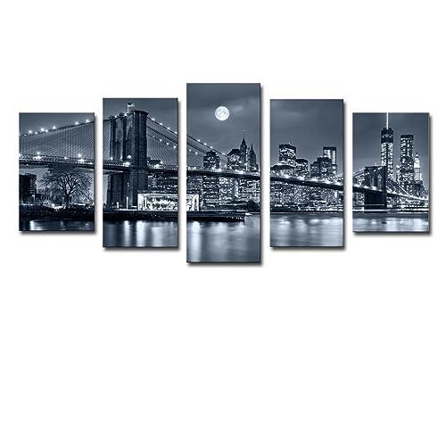 noah art modern bridge artwork brooklyn bridge new york night view landscape wall art