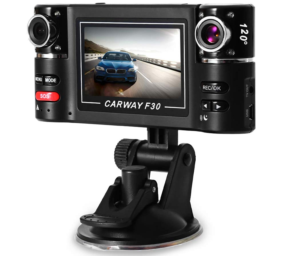 CARWORD Driving Recorder Dual Lens 2.7 Inch Auto Camcorder Car DVR Camera HD Windshield Motion Detection Parking Monitor