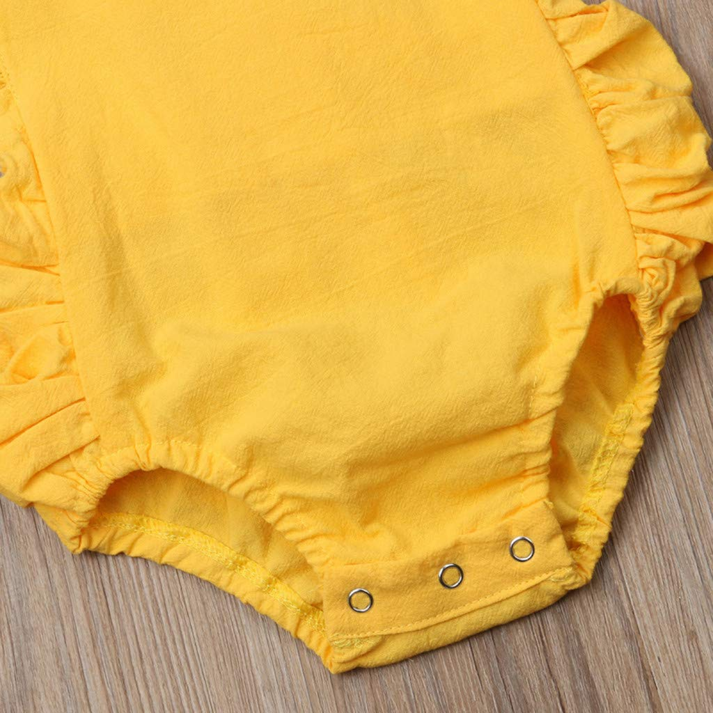 NUWFOR Summer Newborn Baby Boys Girls Ruffle Solid Romper Bodysuit Jumpsuit Clothes(Yellow,12-18Months) by NUWFOR (Image #6)