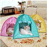 Doglemi Cat Pet Camping Tent House Foldable Bed Durable Cute Polka Dots Cave Green