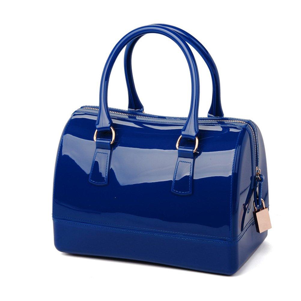 Donalworld Women Waterproof Jelly Pillow-shaped Bag Doctor Style Handbag Blue