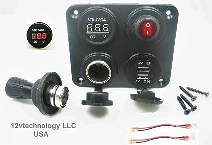 Amazon com: 3 1 Amp USB Charger + Red Voltmeter +12V Lighter Socket