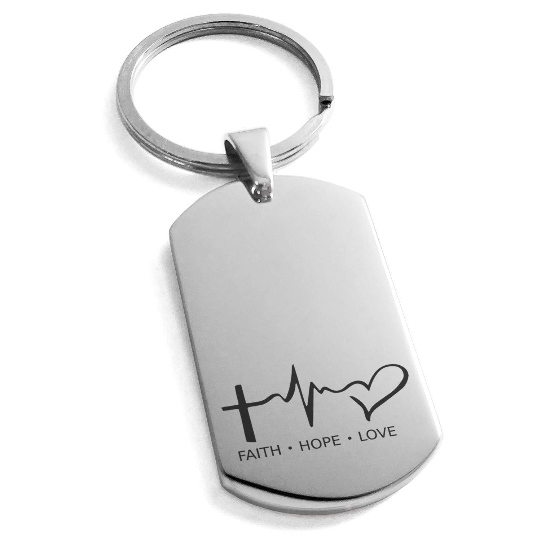 Tioneer Stainless Steel Faith Hope Love Lifeline Engraved Dog Tag Keychain Keyring