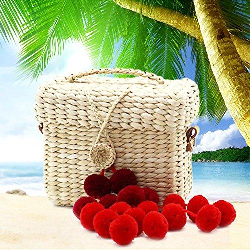Nastro Boemia Elegante Le Tessuto Del A Per Rosso Tracolla Esterno Spiaggia Casuale Scatola Donne Della Borsa Paglia Da Di Escursioni Vino Kbsin212 wp66qOP
