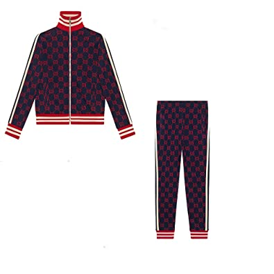 dcbdbfe8c GG Jacquard Cotton Jacket + Jogging Pant Package Suit Blue and Red Unisex  Activewear (XS
