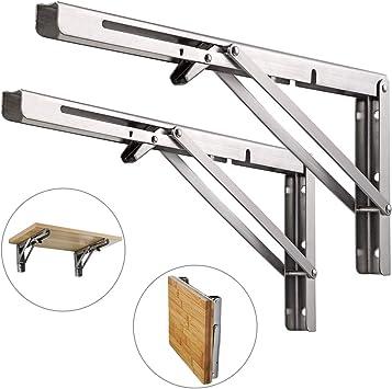 Par de soportes para estante de pared en forma de L de acero inoxidable de hasta 80 kg