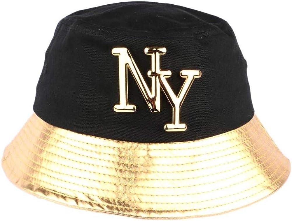 Mixte Hip Hop Honour Chapeau Bob dor/é et Noir NY en Coton