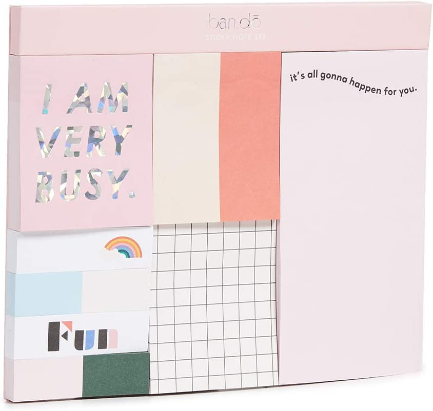 Multi 8 Pack with 3 Sizes and 100 Sheets Each ban.do Womens Sticky Note Set