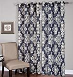 Elrene Home Fashions 026865796353 Grommet Top Linen Look Single Panel Window Curtain Drape, 52″ x 95″, Navy