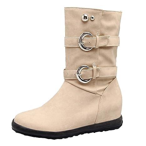 Femmes Martin Bottes, Classique Boots Womans Bottes de Pluie Waterproof Chaussures Filles Bottes Motardes Hiver Chaud Vintage en Plein Air Dames