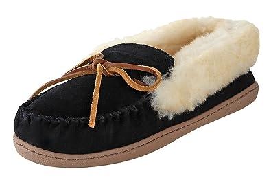 Minnetonka Womens Alpine Sheepskin Moccasin Black Suede Size 5