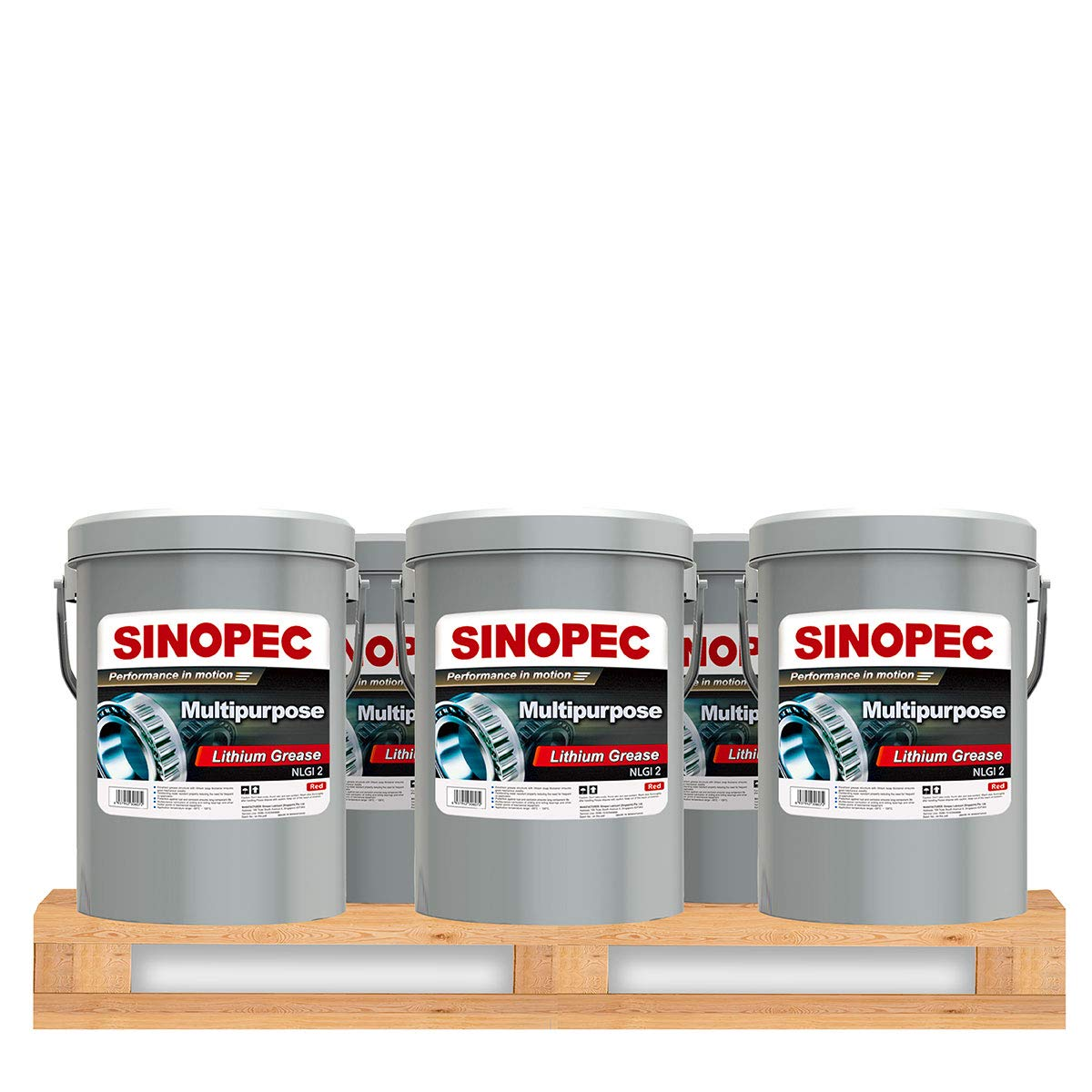 Sinopec Red Multipurpose Lithium Grease #2-35LB. (5 Gallon) Pail (12) by Sinopec (Image #1)