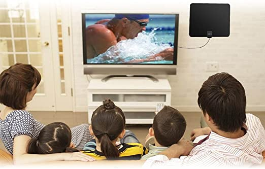 Antena de TV, Accevo Antena Interior HDTV DVB-T2 Mayor Rango de Recepción de 50 KM, 4m de Cables de Alto Rendimiento, Negro