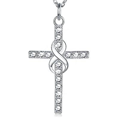 8125d4c43565 Billie Bijoux Plata de ley 925 Collar Infinito Cruz CZ Diamante Oro Blanco  Plateado Colgante Mujeres