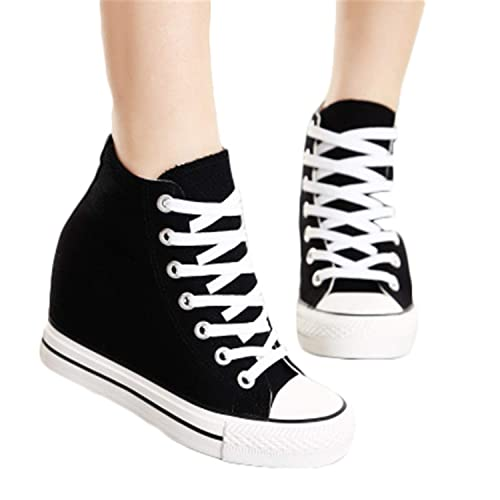 945f4a6e3ab Yyixianma 8cm High Heels Shoes Casual Canvas Shoes Platform Wedges High Top  Ladies Hidden Wedge Heels