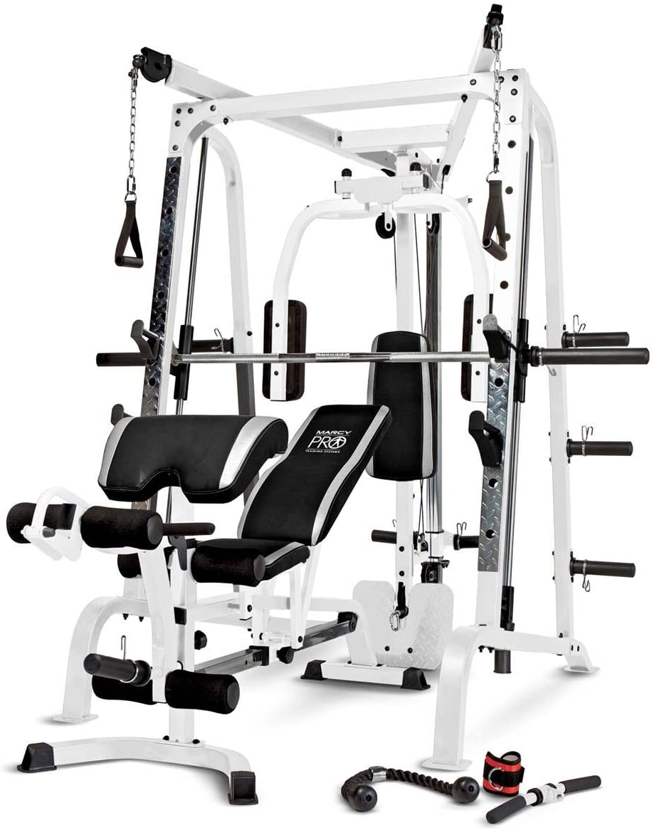 Marcy Smith Cage Workout Machine Total Body Training Home Gym System with Linear Bearing